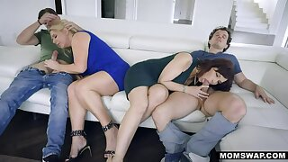 MOMSWAP 2 Big-busted MILF start their Stepsons in 4some